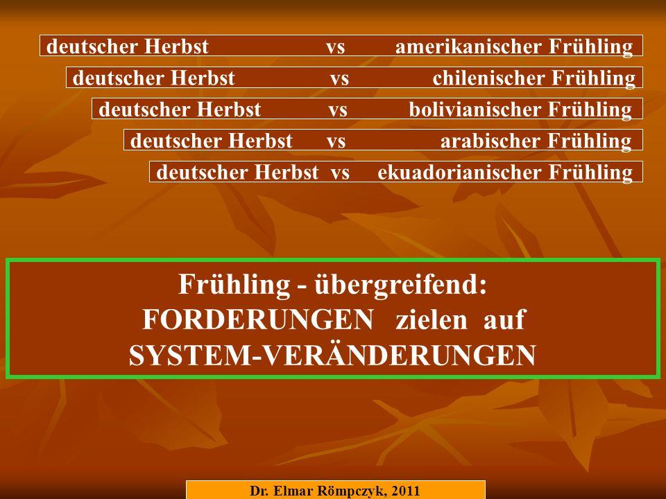 Frühling - übergreifend: FORDERUNGEN zielen auf SYSTEM-VERÄNDERUNGEN Dr. Elmar Römpczyk, 2011 deutscher Herbst vs chilenischer Frühling deutscher Herb