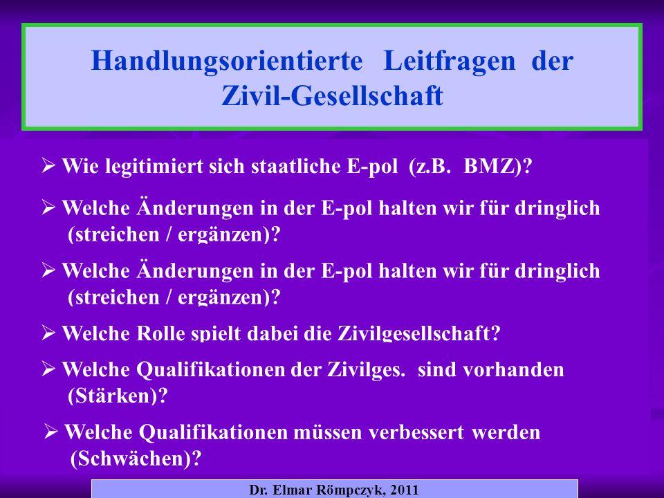 Dr. Elmar Römpczyk, 2011 Wie legitimiert sich staatliche E-pol (z.B. BMZ)? Handlungsorientierte Leitfragen der Zivil-Gesellschaft Welche Änderungen in