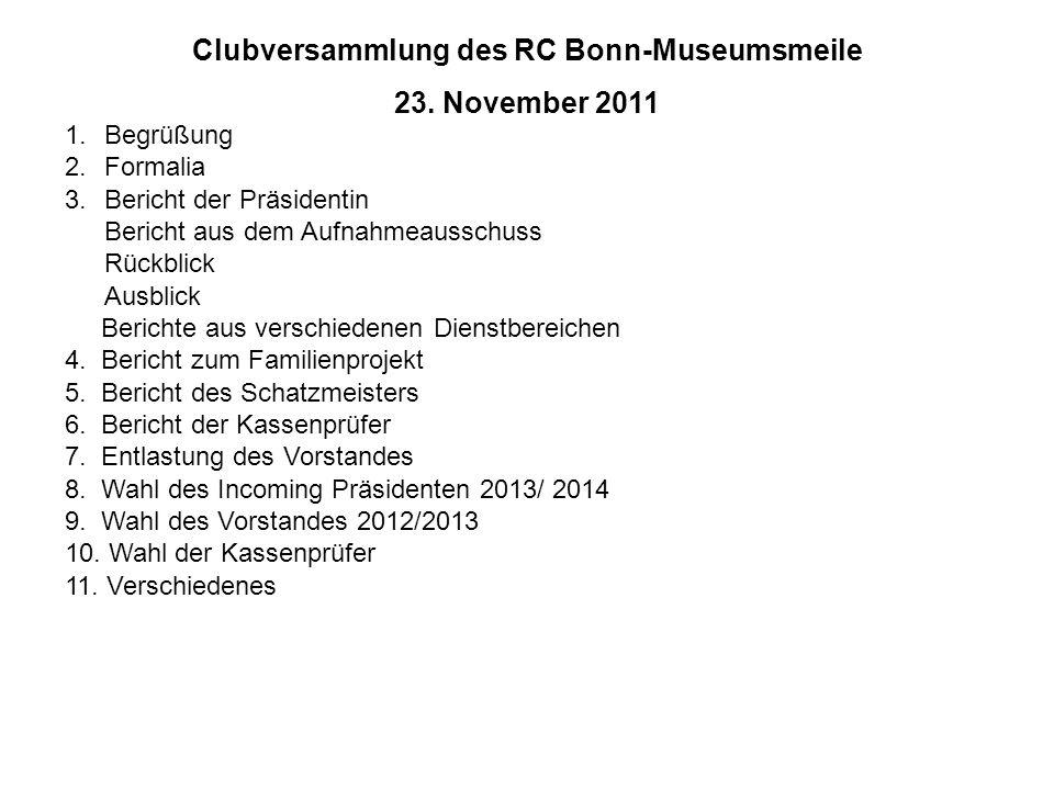 Clubversammlung des RC Bonn-Museumsmeile 23. November 2011 1.Begrüßung 2.Formalia 3.Bericht der Präsidentin Bericht aus dem Aufnahmeausschuss Rückblic