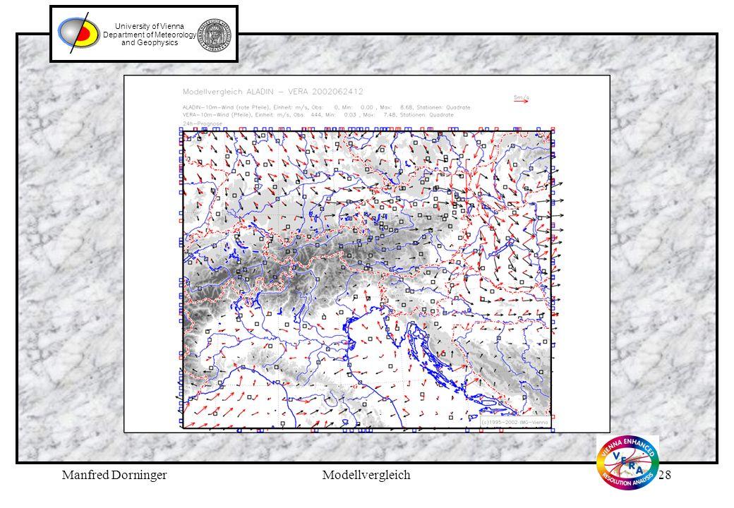 Manfred DorningerModellvergleich27 University of Vienna Department of Meteorology and Geophysics Legende zu Folie 26 (vorhergehend): VERA-Analyse des Windfeldes (Vektoren) und Betrag der Vektor- differenz 24h-Aladin Prognose – VERA für den 24.