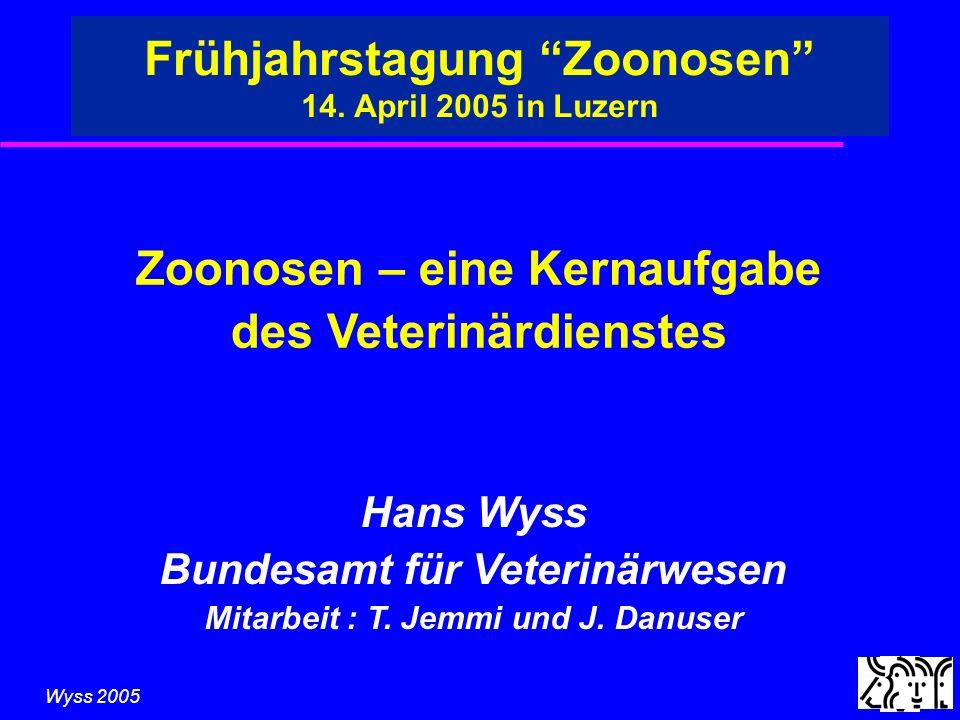 Wyss 2005 Zoonosen – eine Kernaufgabe des Veterinärdienstes u Professionalisierung des VetD èRasches erkennen und gezieltes bekämpfen u Verstärkte Oberaufsicht des Bundes èStandardisierung, internationale Äquivalenz u Flexibilität und Offenheit èZoonosen ändern sich und die Überwachung mit ihnen.