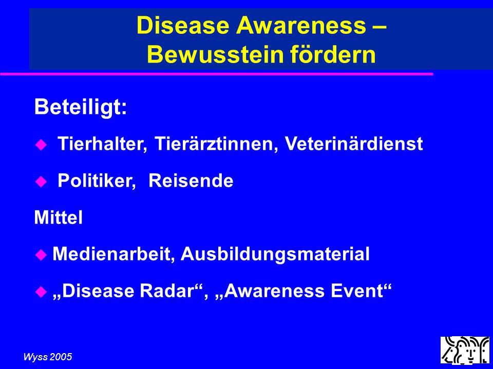 Wyss 2005 Disease Awareness – Bewusstein fördern Beteiligt: u Tierhalter, Tierärztinnen, Veterinärdienst u Politiker, Reisende Mittel u Medienarbeit, Ausbildungsmaterial u Disease Radar, Awareness Event