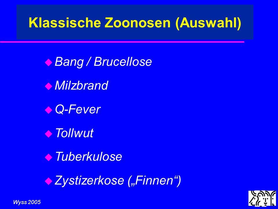 Wyss 2005 Klassische Zoonosen (Auswahl) u Bang / Brucellose u Milzbrand u Q-Fever u Tollwut u Tuberkulose u Zystizerkose (Finnen)
