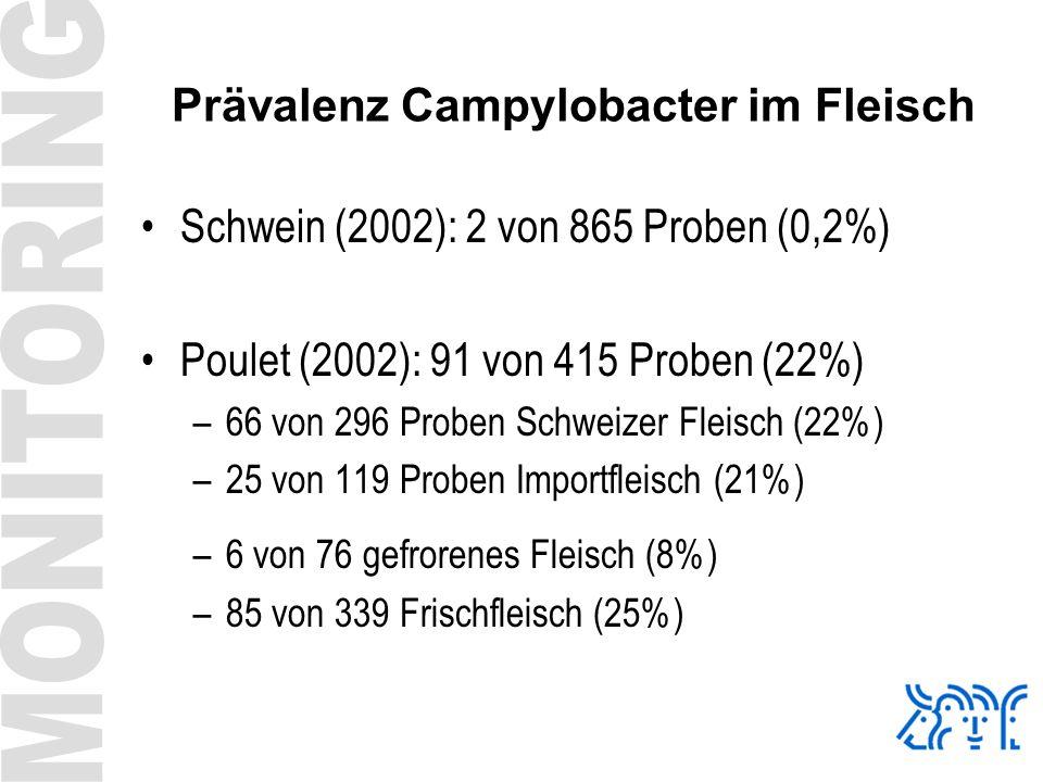 Prävalenz Campylobacter im Fleisch Schwein (2002): 2 von 865 Proben (0,2%) Poulet (2002): 91 von 415 Proben (22%) –66 von 296 Proben Schweizer Fleisch
