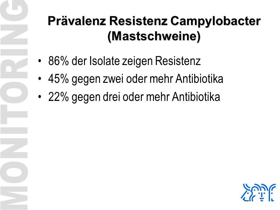 Prävalenz Resistenz Campylobacter (Mastschweine) 86% der Isolate zeigen Resistenz 45% gegen zwei oder mehr Antibiotika 22% gegen drei oder mehr Antibi