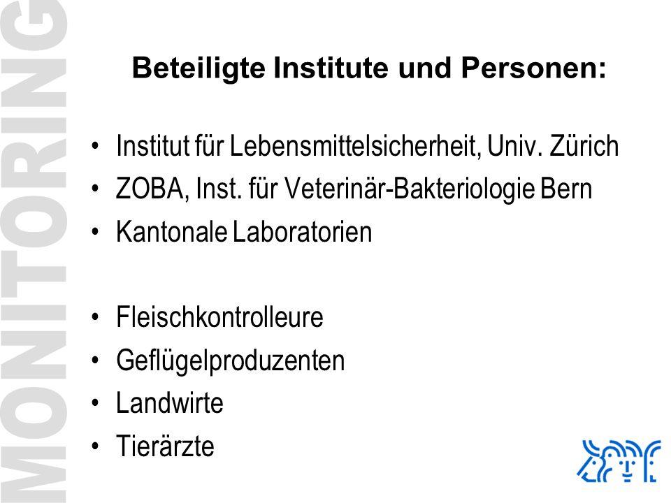 Beteiligte Institute und Personen: Institut für Lebensmittelsicherheit, Univ. Zürich ZOBA, Inst. für Veterinär-Bakteriologie Bern Kantonale Laboratori