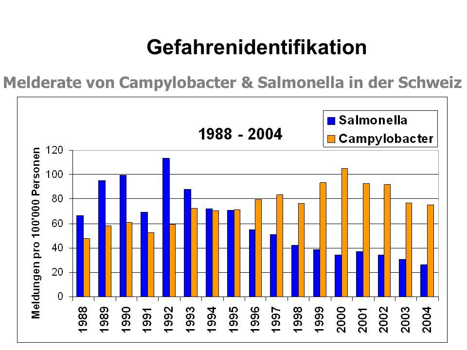 Melderate von Campylobacter & Salmonella in der Schweiz Gefahrenidentifikation