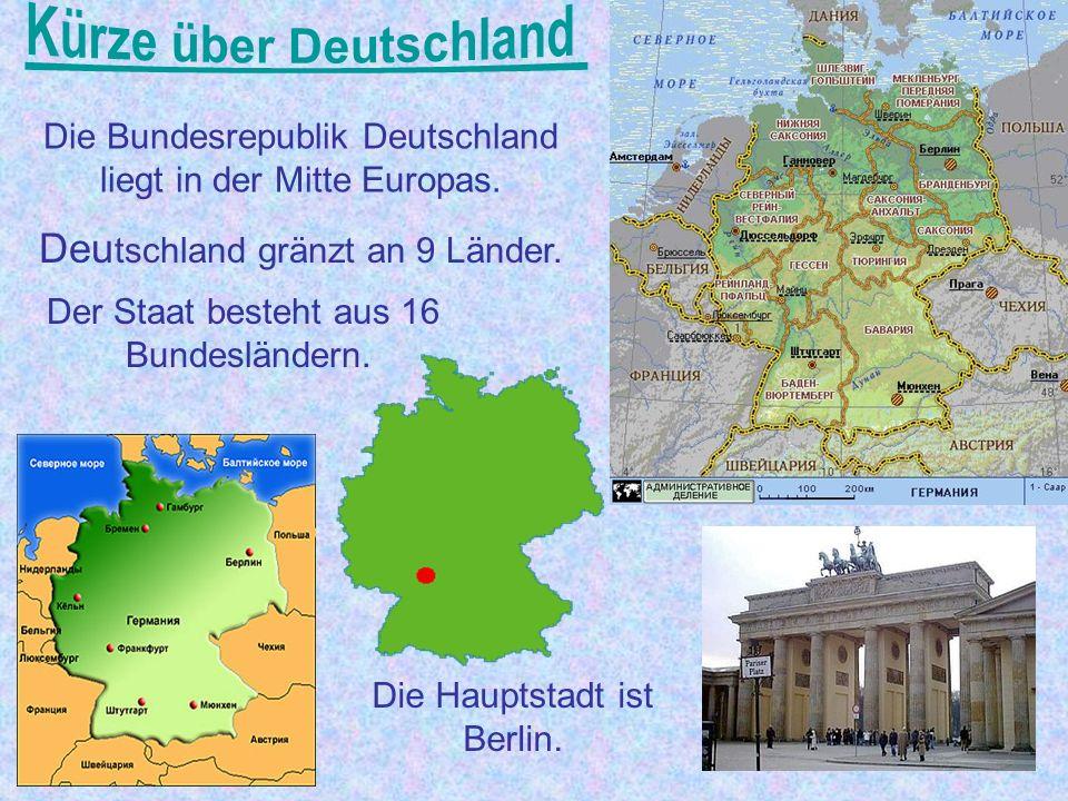 Inhalt: Kürze über Deutschland Die Sehenswürdigkeiten Das Symbol Die größte Städte Die Einwohner Die Natur Die Arbeit an der Lexik Die Hausaufgabe
