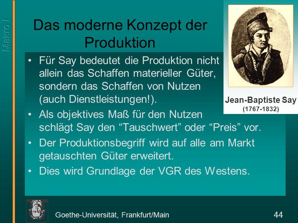 Goethe-Universität, Frankfurt/Main 44 Für Say bedeutet die Produktion nicht allein das Schaffen materieller Güter, sondern das Schaffen von Nutzen (au