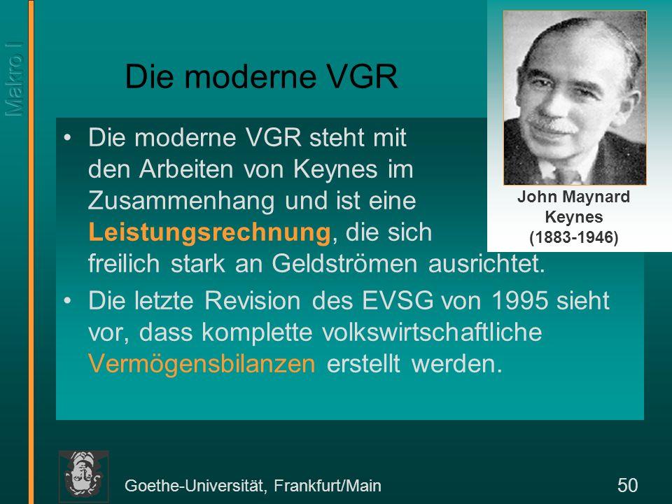 Goethe-Universität, Frankfurt/Main 50 Die moderne VGR Die moderne VGR steht mit den Arbeiten von Keynes im Zusammenhang und ist eine Leistungsrechnung