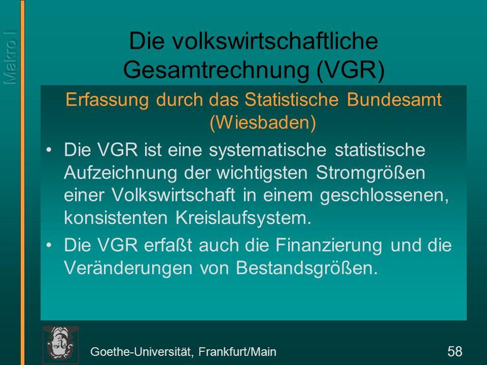Goethe-Universität, Frankfurt/Main 58 Erfassung durch das Statistische Bundesamt (Wiesbaden) Die VGR ist eine systematische statistische Aufzeichnung