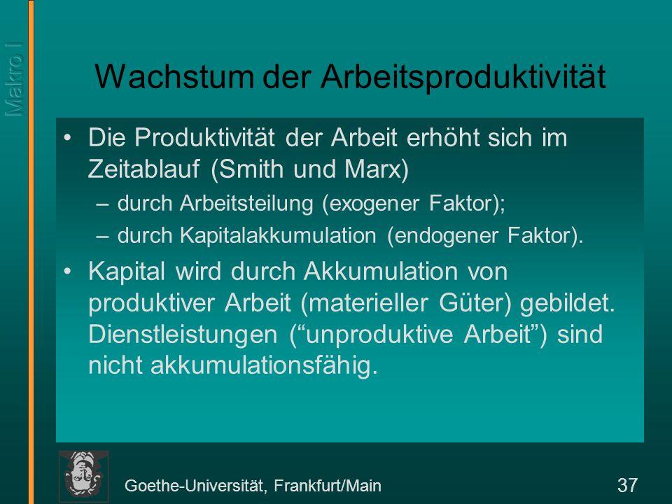Goethe-Universität, Frankfurt/Main 37 Wachstum der Arbeitsproduktivität Die Produktivität der Arbeit erhöht sich im Zeitablauf (Smith und Marx) –durch
