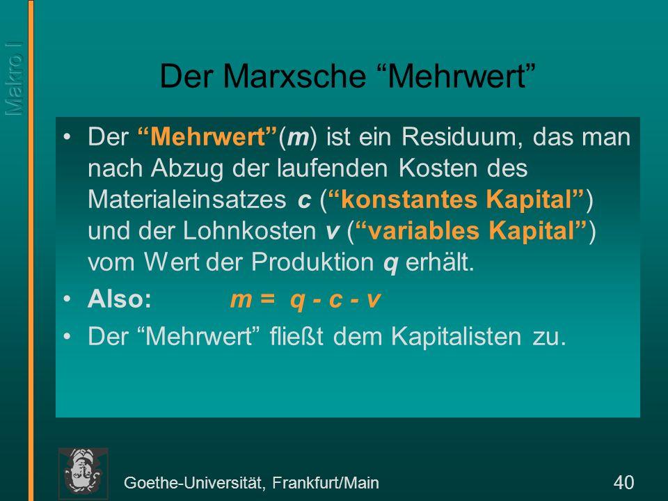 Goethe-Universität, Frankfurt/Main 41 Marxsches Kreislaufschema Abteilung I Abteilung II Kapitalisten vIvI v II v I + v II c II cIcI mImI (m I + m II ) (1- )(m I + m II ) Kapital- bildung m II Arbeiter