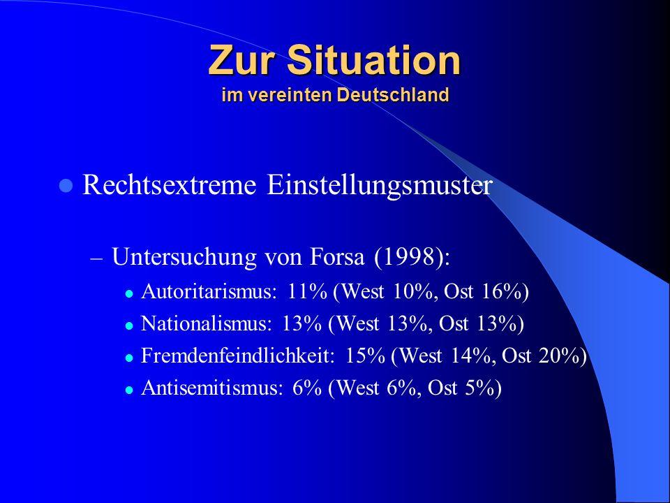 Zur Situation im vereinten Deutschland Rechtsextreme Einstellungsmuster – Untersuchung von Forsa (1998): Autoritarismus: 11% (West 10%, Ost 16%) Nationalismus: 13% (West 13%, Ost 13%) Fremdenfeindlichkeit: 15% (West 14%, Ost 20%) Antisemitismus: 6% (West 6%, Ost 5%)