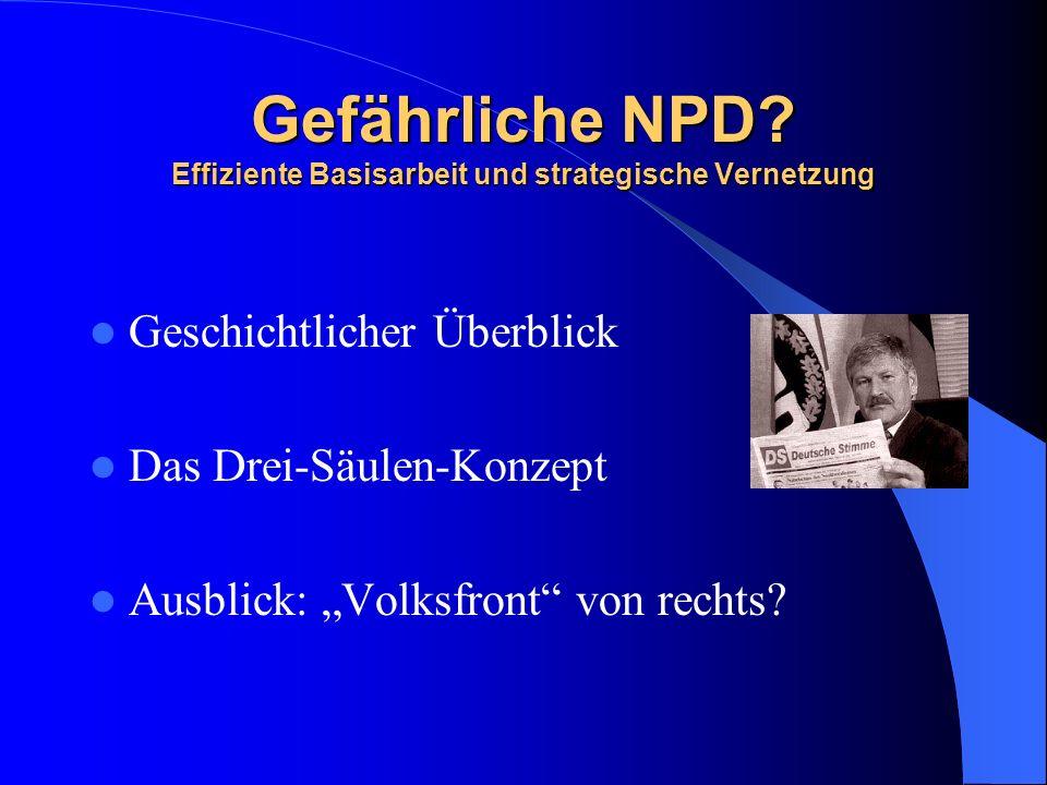 Gefährliche NPD? Effiziente Basisarbeit und strategische Vernetzung Geschichtlicher Überblick Das Drei-Säulen-Konzept Ausblick: Volksfront von rechts?