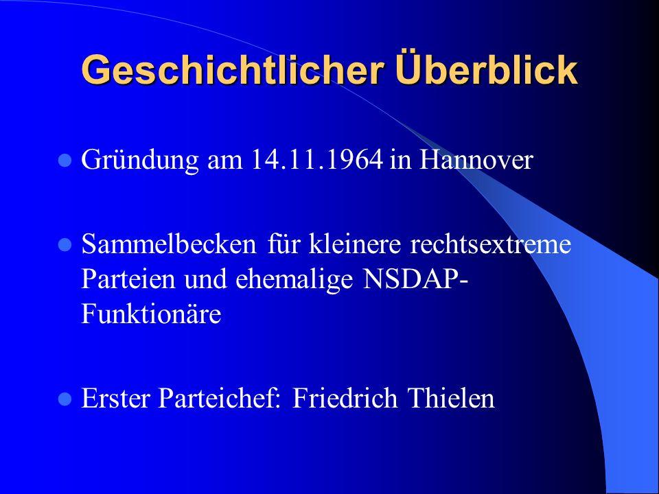 Geschichtlicher Überblick Gründung am 14.11.1964 in Hannover Sammelbecken für kleinere rechtsextreme Parteien und ehemalige NSDAP- Funktionäre Erster Parteichef: Friedrich Thielen