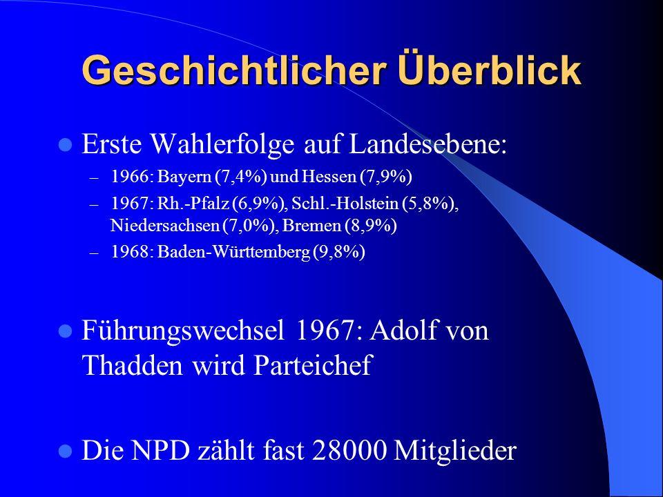 Geschichtlicher Überblick Erste Wahlerfolge auf Landesebene: – 1966: Bayern (7,4%) und Hessen (7,9%) – 1967: Rh.-Pfalz (6,9%), Schl.-Holstein (5,8%), Niedersachsen (7,0%), Bremen (8,9%) – 1968: Baden-Württemberg (9,8%) Führungswechsel 1967: Adolf von Thadden wird Parteichef Die NPD zählt fast 28000 Mitglieder