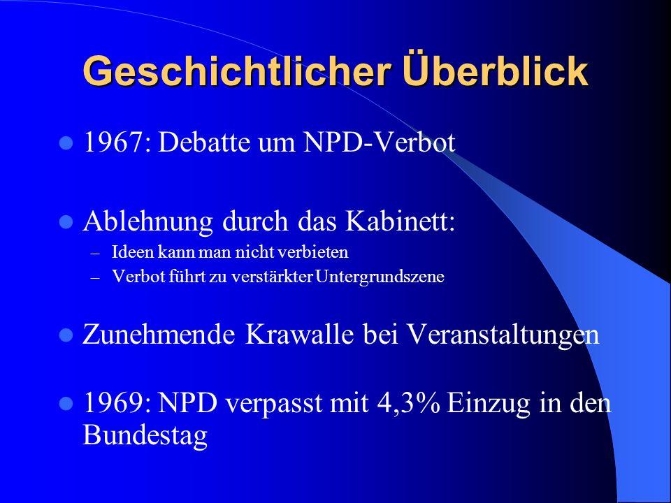 Geschichtlicher Überblick 1967: Debatte um NPD-Verbot Ablehnung durch das Kabinett: – Ideen kann man nicht verbieten – Verbot führt zu verstärkter Untergrundszene Zunehmende Krawalle bei Veranstaltungen 1969: NPD verpasst mit 4,3% Einzug in den Bundestag