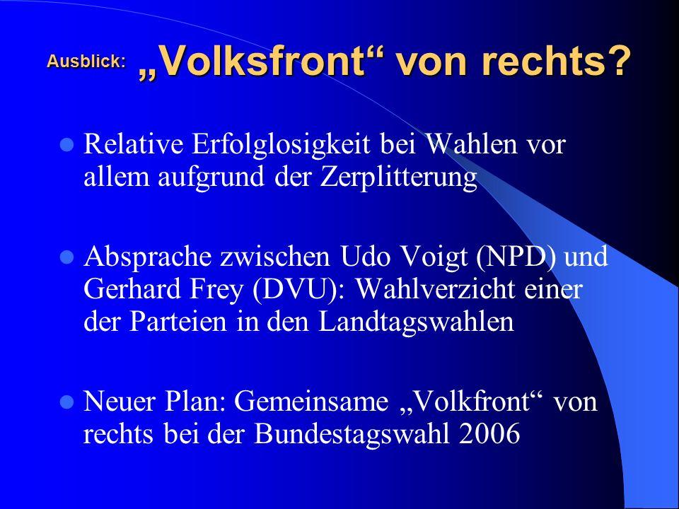 Ausblick: Volksfront von rechts? Relative Erfolglosigkeit bei Wahlen vor allem aufgrund der Zerplitterung Absprache zwischen Udo Voigt (NPD) und Gerha