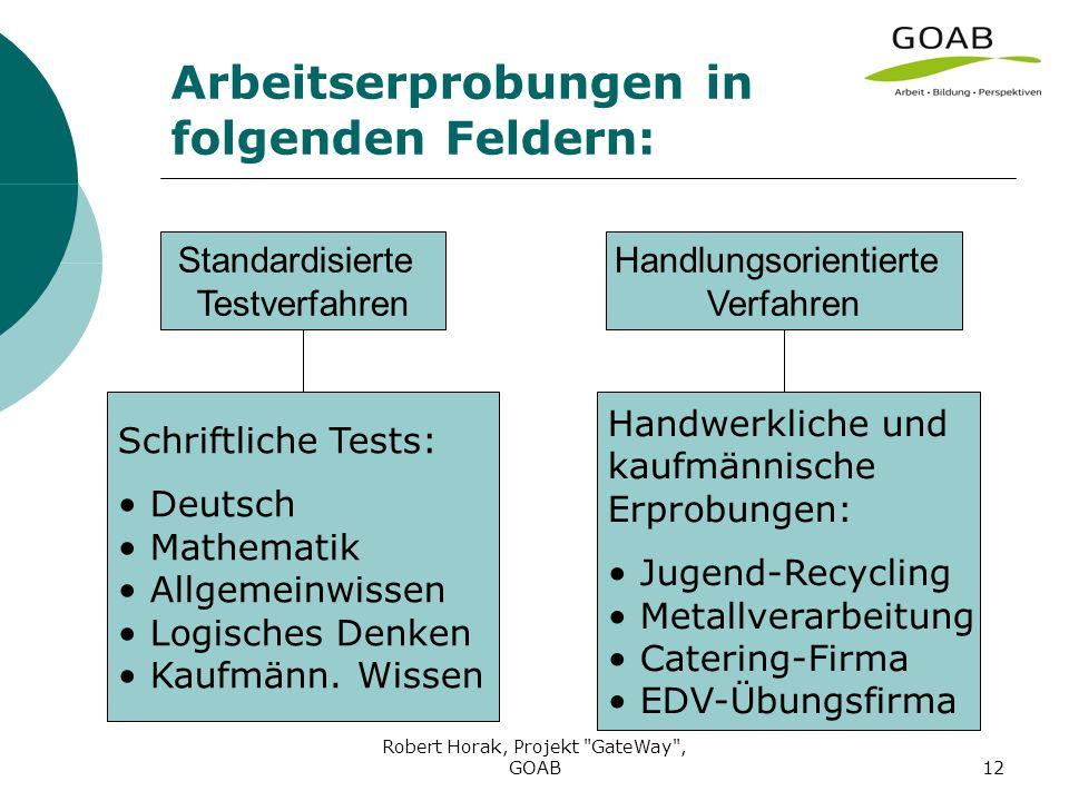 Robert Horak, Projekt GateWay , GOAB12 Arbeitserprobungen in folgenden Feldern: Standardisierte Testverfahren Handlungsorientierte Verfahren Schriftliche Tests: Deutsch Mathematik Allgemeinwissen Logisches Denken Kaufmänn.