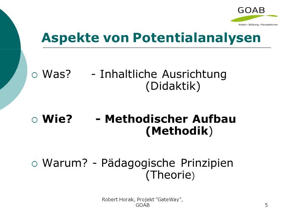 Robert Horak, Projekt GateWay , GOAB5 Aspekte von Potentialanalysen Was.