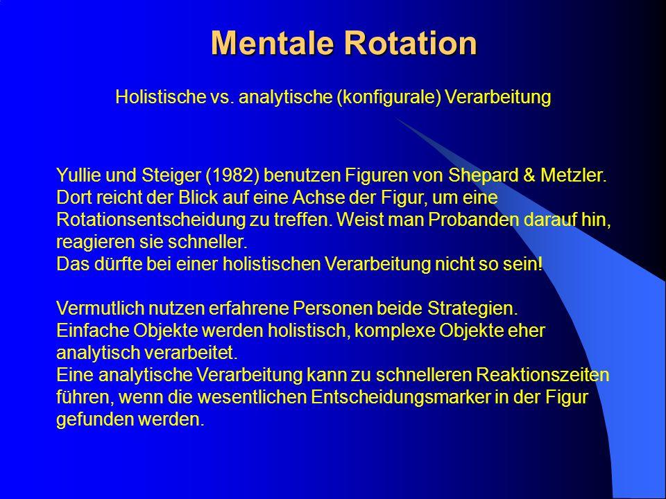 Mentale Rotation Yullie und Steiger (1982) benutzen Figuren von Shepard & Metzler. Dort reicht der Blick auf eine Achse der Figur, um eine Rotationsen