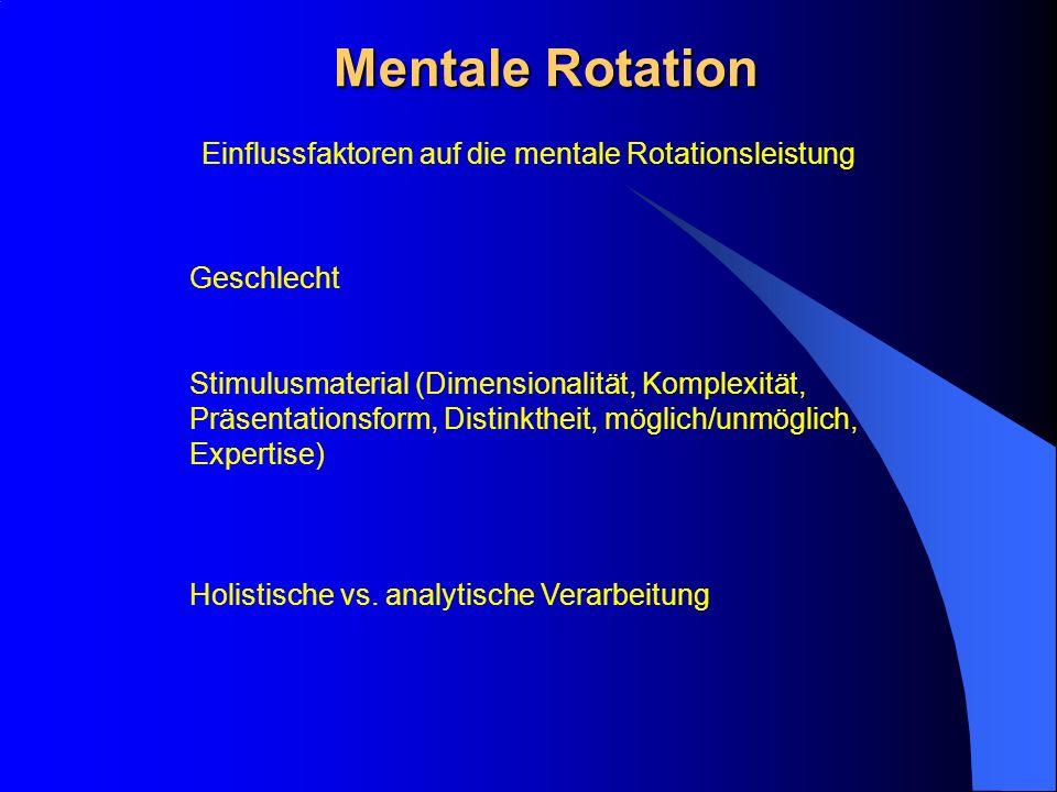 Mentale Rotation Geschlecht Stimulusmaterial (Dimensionalität, Komplexität, Präsentationsform, Distinktheit, möglich/unmöglich, Expertise) Holistische