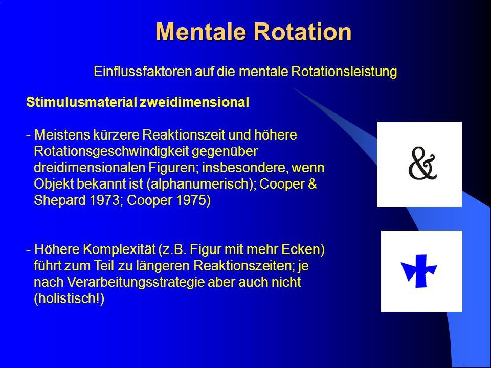Mentale Rotation Stimulusmaterial zweidimensional - Meistens kürzere Reaktionszeit und höhere Rotationsgeschwindigkeit gegenüber dreidimensionalen Fig