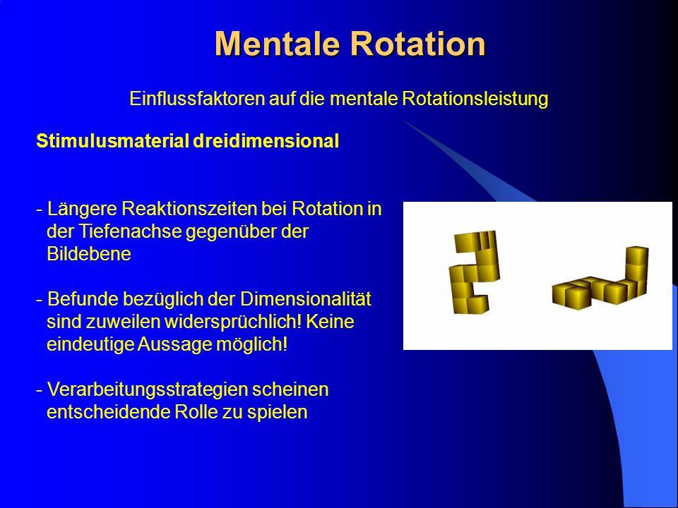 Mentale Rotation Stimulusmaterial dreidimensional - Längere Reaktionszeiten bei Rotation in der Tiefenachse gegenüber der Bildebene - Befunde bezüglic