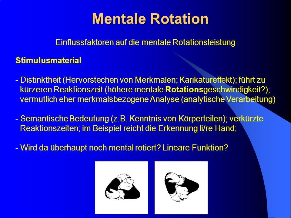 Mentale Rotation Stimulusmaterial - Distinktheit (Hervorstechen von Merkmalen; Karikatureffekt); führt zu kürzeren Reaktionszeit (höhere mentale Rotat