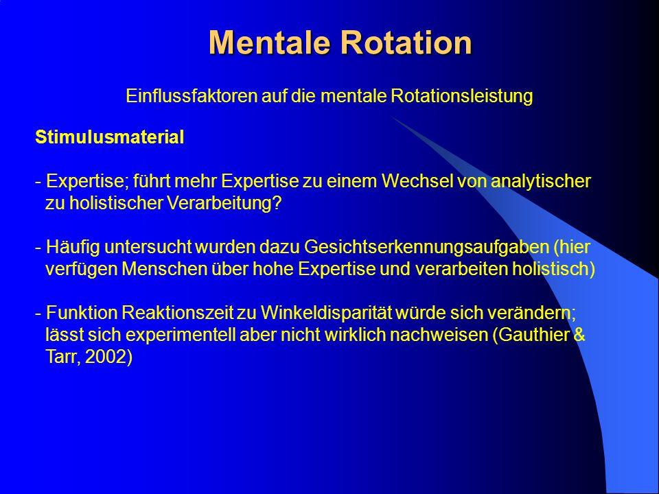 Mentale Rotation Stimulusmaterial - Expertise; führt mehr Expertise zu einem Wechsel von analytischer zu holistischer Verarbeitung? - Häufig untersuch