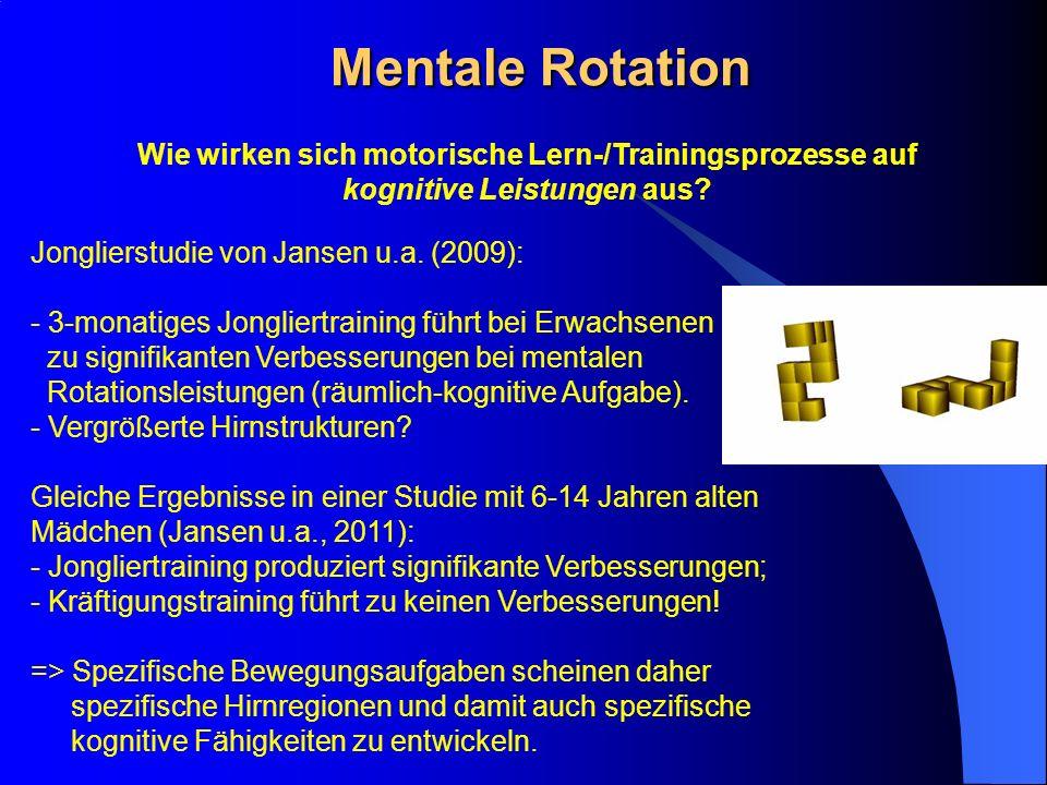 Mentale Rotation Wie wirken sich motorische Lern-/Trainingsprozesse auf kognitive Leistungen aus? Jonglierstudie von Jansen u.a. (2009): - 3-monatiges
