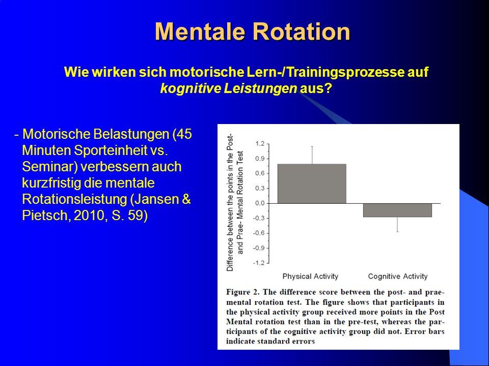 Mentale Rotation Wie wirken sich motorische Lern-/Trainingsprozesse auf kognitive Leistungen aus? - Motorische Belastungen (45 Minuten Sporteinheit vs