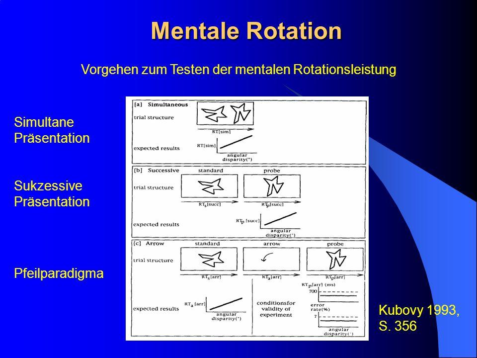 Mentale Rotation Vorgehen zum Testen der mentalen Rotationsleistung Kubovy 1993, S. 356 Simultane Präsentation Sukzessive Präsentation Pfeilparadigma