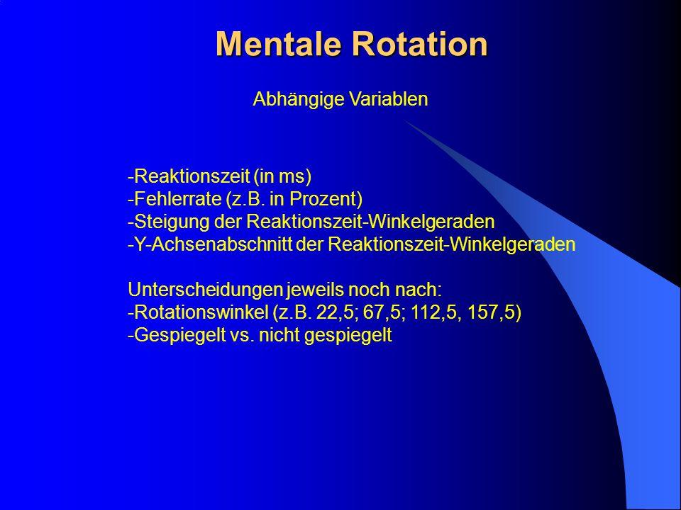 Mentale Rotation Abhängige Variablen -Reaktionszeit (in ms) -Fehlerrate (z.B. in Prozent) -Steigung der Reaktionszeit-Winkelgeraden -Y-Achsenabschnitt