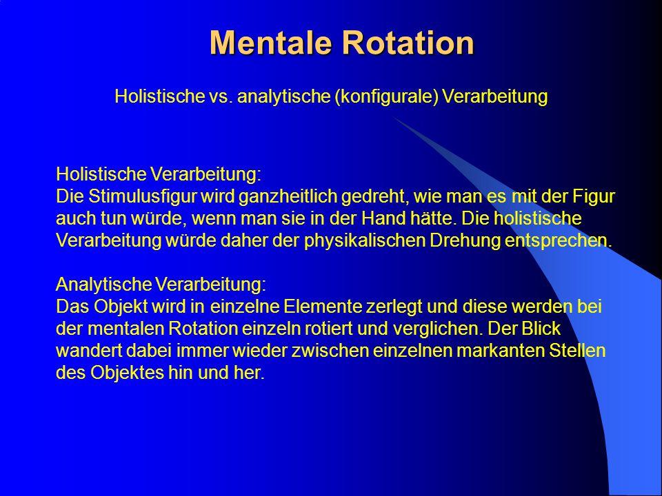 Mentale Rotation Holistische Verarbeitung: Die Stimulusfigur wird ganzheitlich gedreht, wie man es mit der Figur auch tun würde, wenn man sie in der H