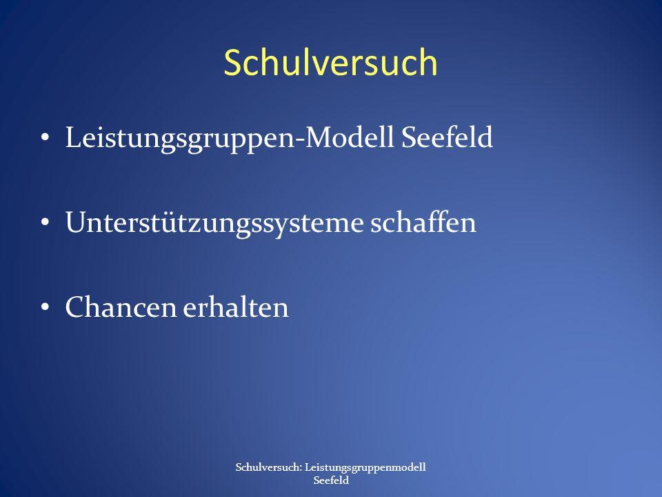 Schulversuch Leistungsgruppen-Modell Seefeld Unterstützungssysteme schaffen Chancen erhalten Schulversuch: Leistungsgruppenmodell Seefeld