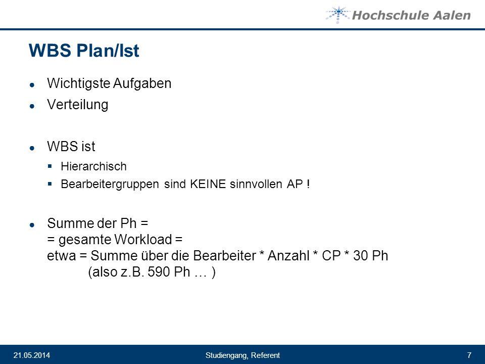 Studiengang, Referent21.05.20147 WBS Plan/Ist Wichtigste Aufgaben Verteilung WBS ist Hierarchisch Bearbeitergruppen sind KEINE sinnvollen AP ! Summe d