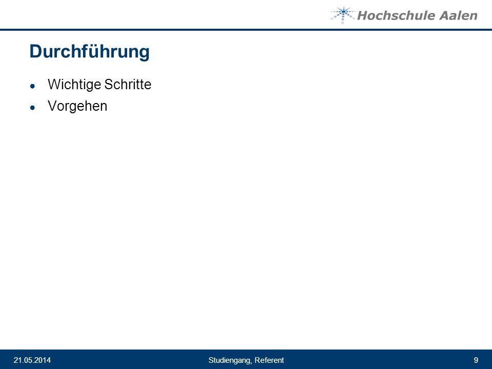 Studiengang, Referent21.05.20149 Durchführung Wichtige Schritte Vorgehen