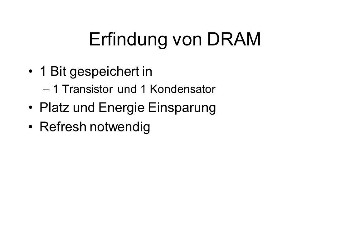 Erfindung von DRAM 1 Bit gespeichert in –1 Transistor und 1 Kondensator Platz und Energie Einsparung Refresh notwendig