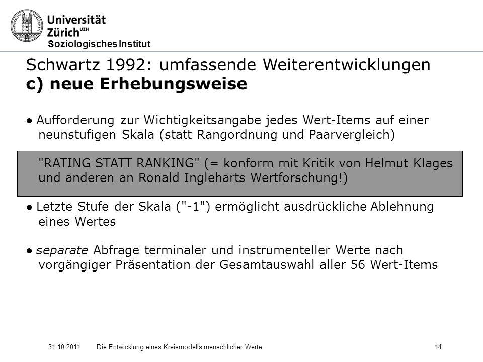 Soziologisches Institut 31.10.2011Die Entwicklung eines Kreismodells menschlicher Werte 14 Schwartz 1992: umfassende Weiterentwicklungen c) neue Erhebungsweise Aufforderung zur Wichtigkeitsangabe jedes Wert-Items auf einer neunstufigen Skala (statt Rangordnung und Paarvergleich) RATING STATT RANKING (= konform mit Kritik von Helmut Klages und anderen an Ronald Ingleharts Wertforschung!) Letzte Stufe der Skala ( -1 ) ermöglicht ausdrückliche Ablehnung eines Wertes separate Abfrage terminaler und instrumenteller Werte nach vorgängiger Präsentation der Gesamtauswahl aller 56 Wert-Items