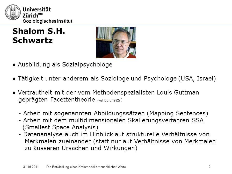 Soziologisches Institut 31.10.2011Die Entwicklung eines Kreismodells menschlicher Werte 2 Shalom S.H.