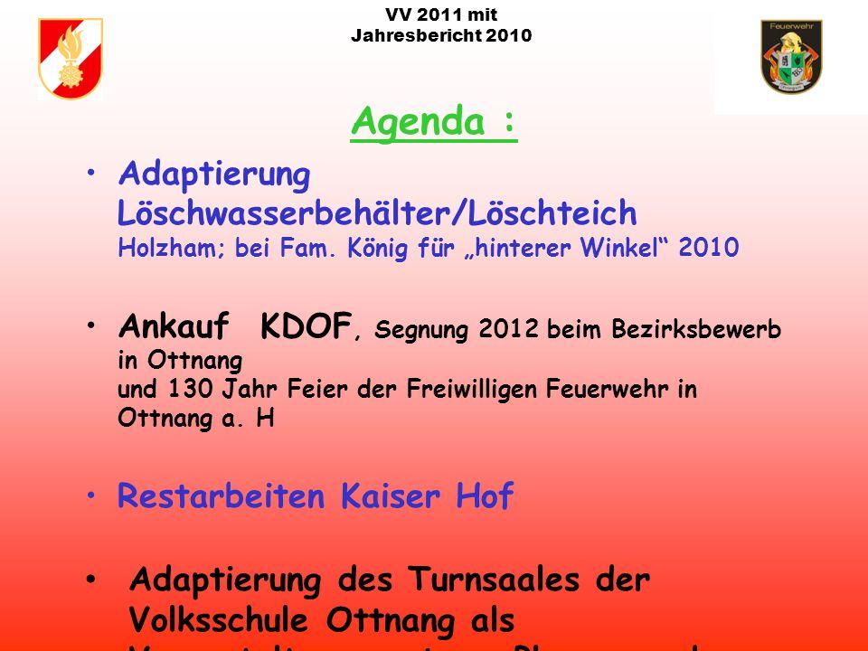 VV 2011 mit Jahresbericht 2010 Termine 2011: Floriani Feier am 08.