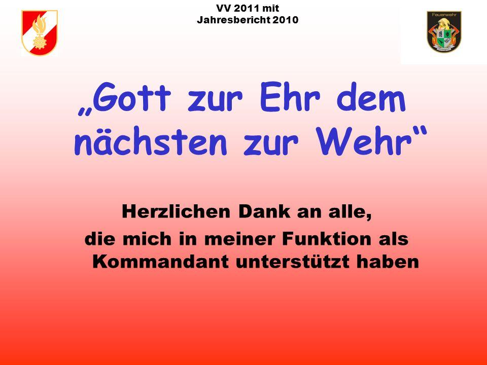 VV 2011 mit Jahresbericht 2010 Agenda : Adaptierung Löschwasserbehälter/Löschteich Holzham; bei Fam.