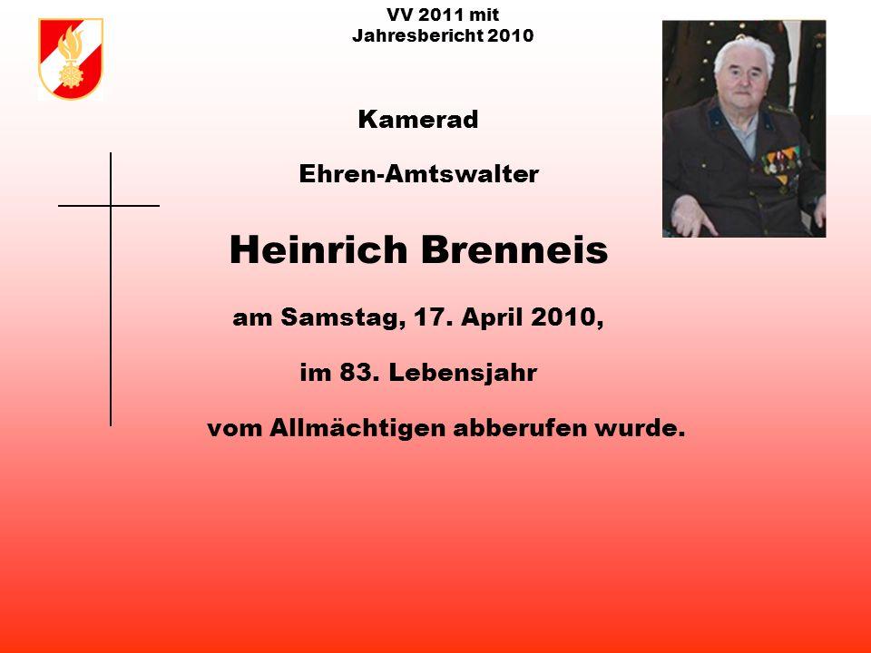VV 2011 mit Jahresbericht 2010 Kamerad Ehren-Hauptfeuerwehrmann Maximilian Brandmair am Gründonnerstag, 1.