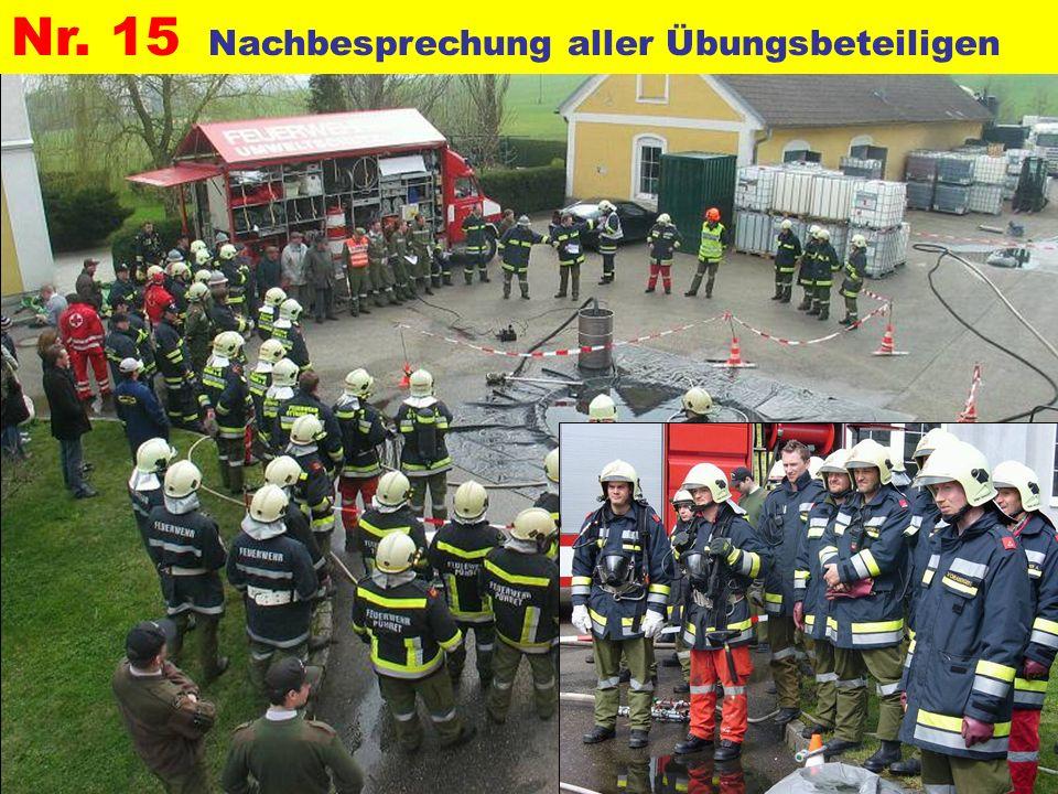 Pressegruppe der FF Ottnang a.H. Nr. 15 Nachbesprechung aller Übungsbeteiligen