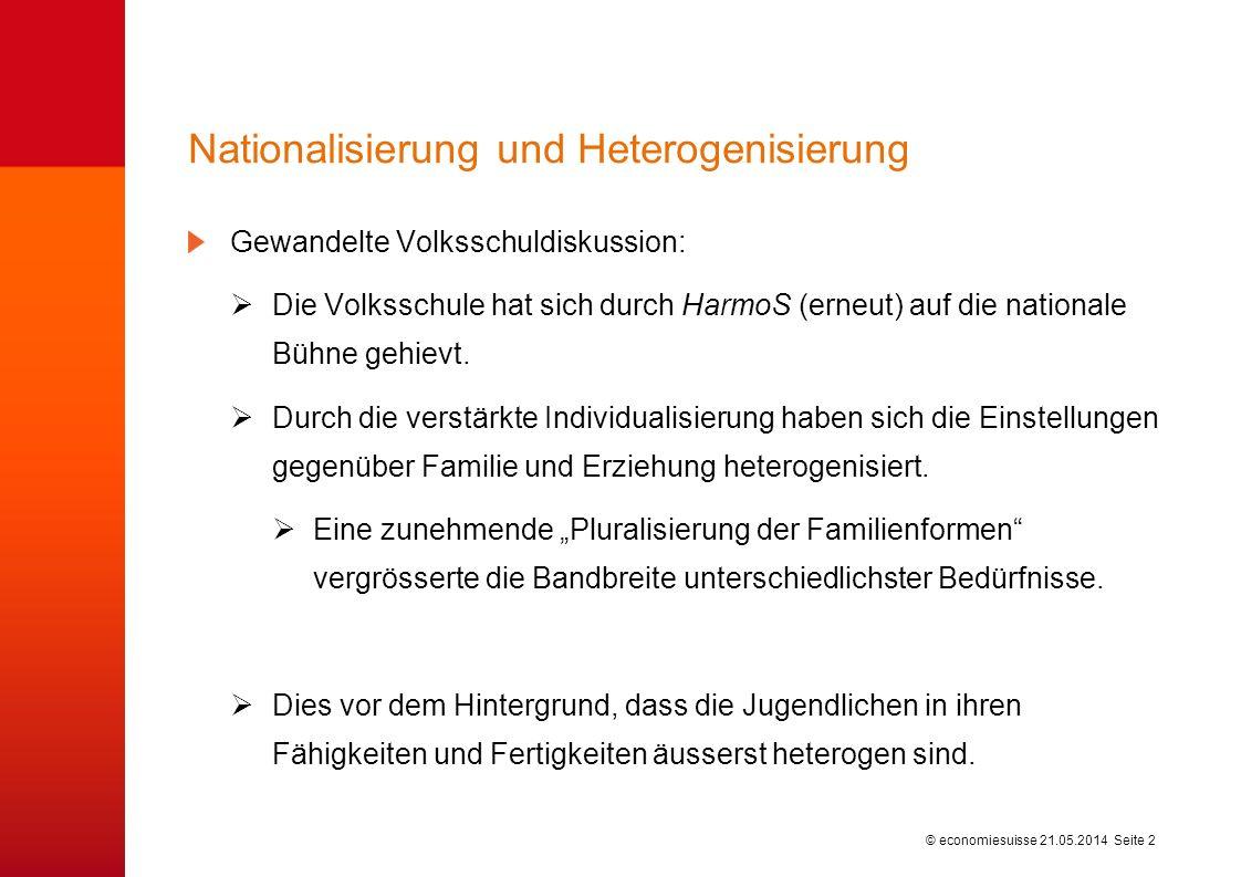 © economiesuisse Gewandelte Volksschuldiskussion: Die Volksschule hat sich durch HarmoS (erneut) auf die nationale Bühne gehievt.