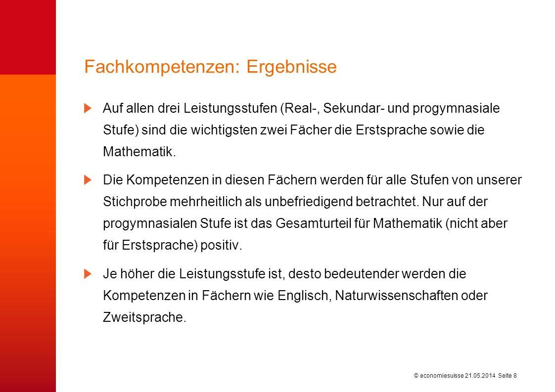 © economiesuisse21.05.2014 Seite 9 Nichtkognitive Kompetenzen: Wie werden die Leistungen der heutigen Schulabgänger beurteilt.