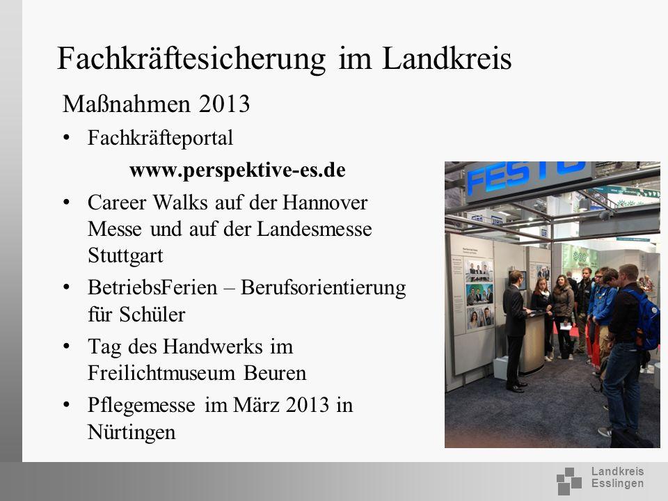 Landkreis Esslingen Fachkräftesicherung im Landkreis Maßnahmen 2013 Fachkräfteportal www.perspektive-es.de Career Walks auf der Hannover Messe und auf