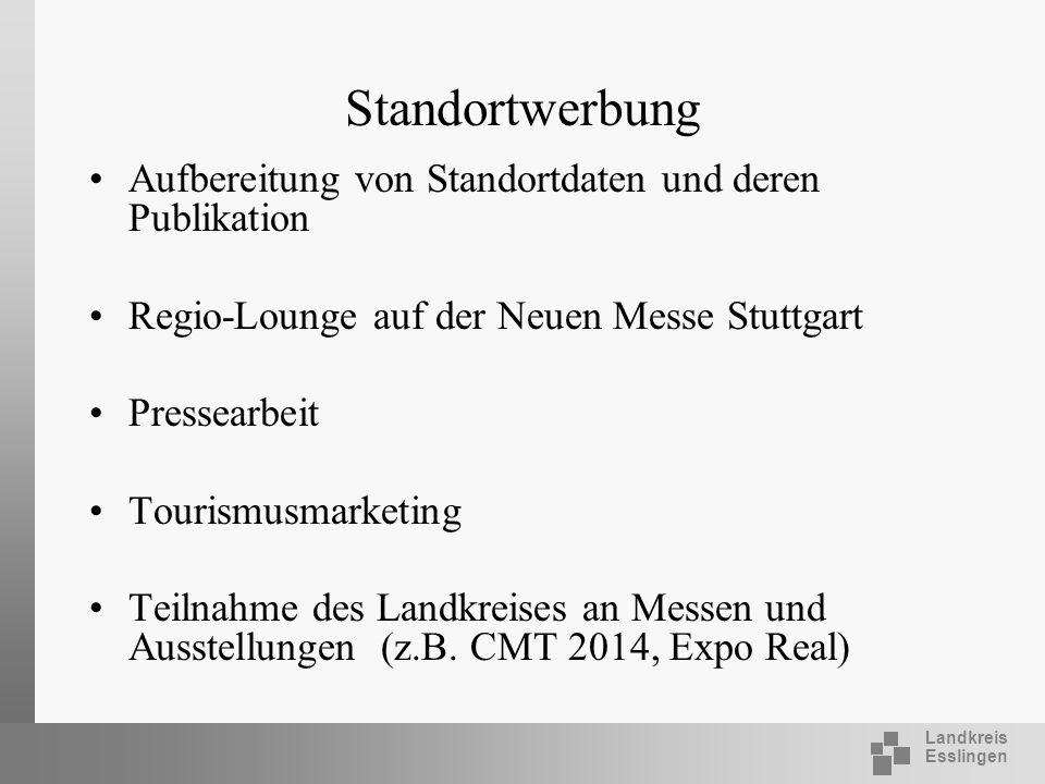 Landkreis Esslingen Standortwerbung Aufbereitung von Standortdaten und deren Publikation Regio-Lounge auf der Neuen Messe Stuttgart Pressearbeit Touri